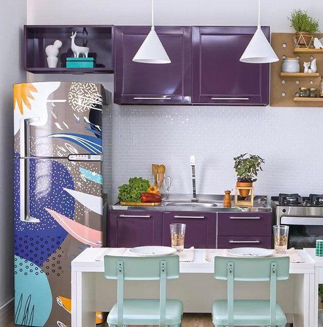 Adesivos nos armarios decoração de geladeira